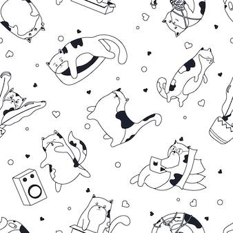 Modèle de chats mignons en noir chaton mignon travaillant sur un ordinateur portable écoutant la texture vectorielle de la musique