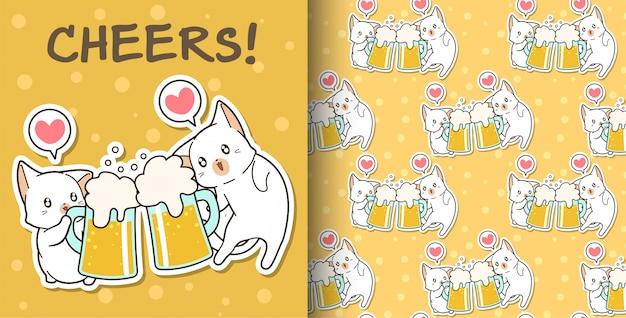 Modèle de chats sans couture kawaii boivent