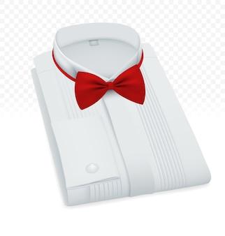 Modèle de chemise plié blanc masculin formel.