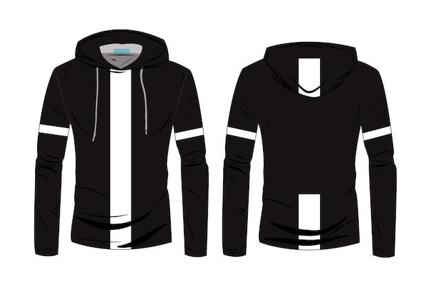 Modèle de chemises à capuche. conception de veste à capuche sport à manches longues. veste d'hiver pour hommes et femmes. sweat à capuche de croquis technique de mode avec vue avant et arrière de la piste.