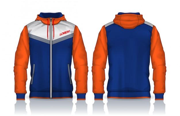 Modèle de chemises à capuche. conception de la veste, vêtements de sport vue de face et de dos.