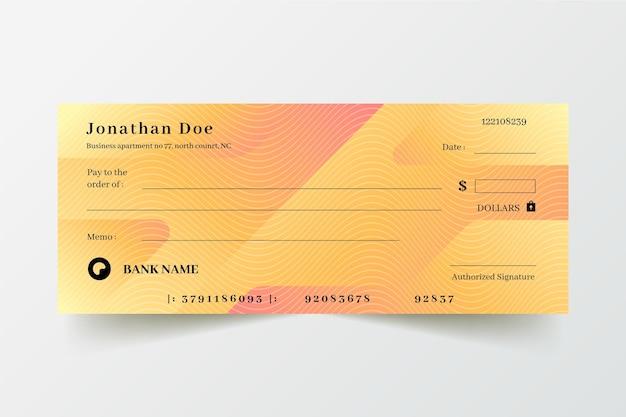 Modèle de chèque en blanc dégradé