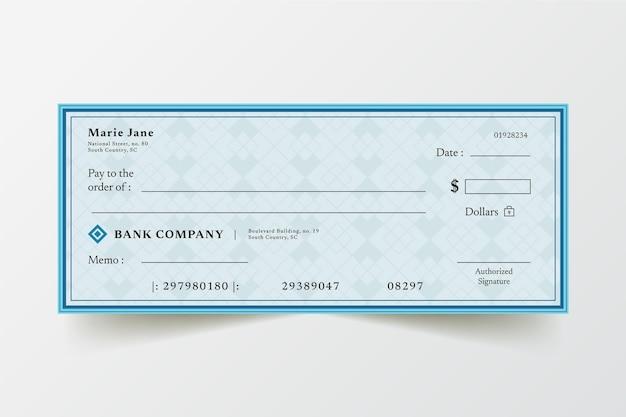 Modèle de chèque en blanc design plat