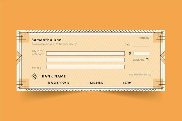 Modèle de chèque en blanc plat linéaire