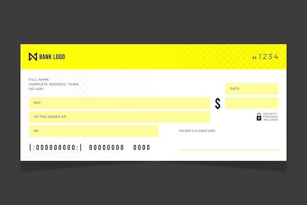 Modèle de chèque en blanc plat
