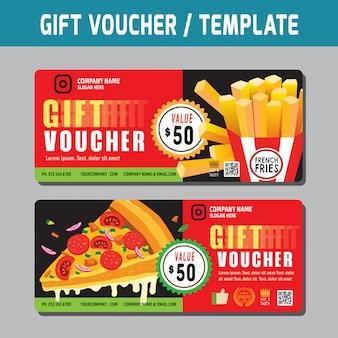 Modèle de chèque-cadeau, carte-cadeau, coupon et certificat