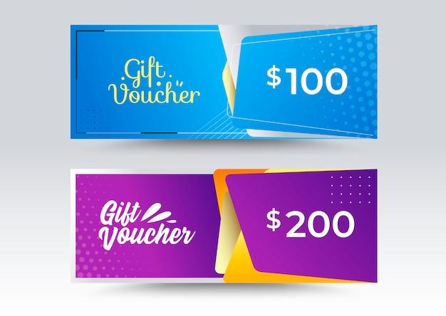 Modèle de chèque-cadeau d'entreprise. style de couleur bleu et violet.