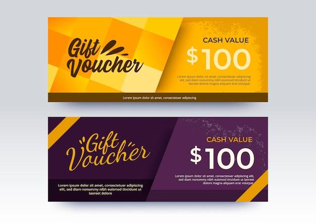 Modèle de chèque-cadeau d'entreprise. style de couleur jaune et violet.