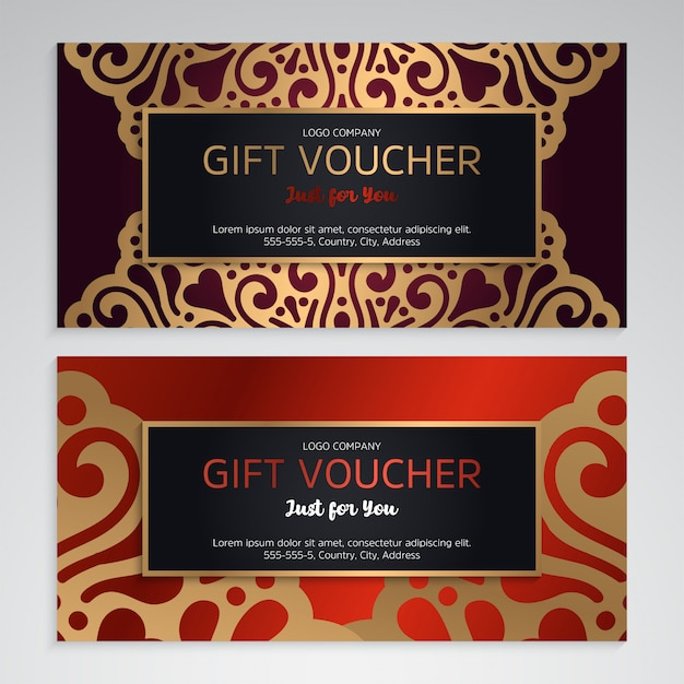 Modèle de chèque-cadeau de luxe avec style ethnique