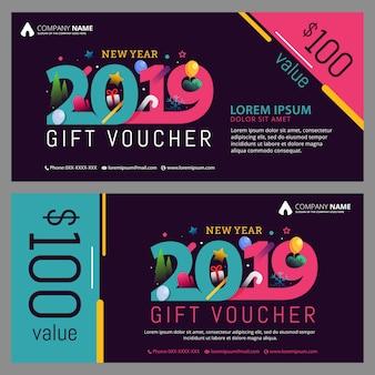 Modèle de chèque-cadeau nouvel an 2019 avec un design branché et moderne.