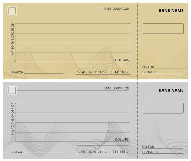 Modèle de chèque vide. conception de carnet de chèques d'affaires. vérification bancaire, page vierge pour les dons de charité, illustration vectorielle de paiement d'entreprise. chèque vide au paiement en banque