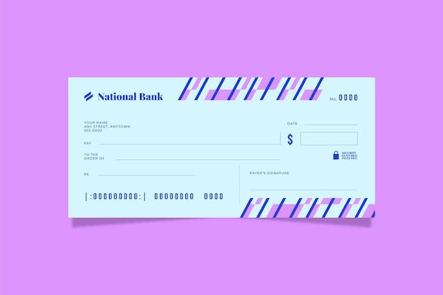 Modèle de chèque vierge design plat