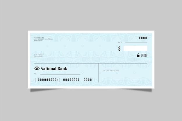 Modèle de chèque vierge plat linéaire
