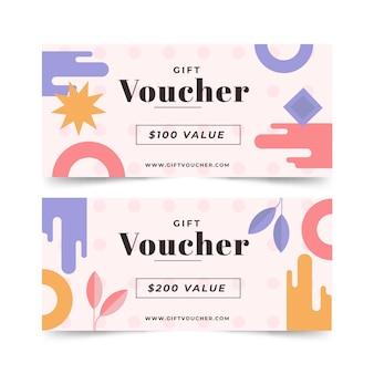 Modèle de chèques-cadeaux abstrait design plat