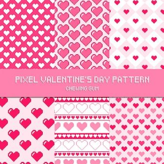Modèle de chewing-gum motif saint-valentin de pixel