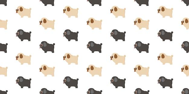 Modèle de chien sans soudure pug répéter sur fond blanc.