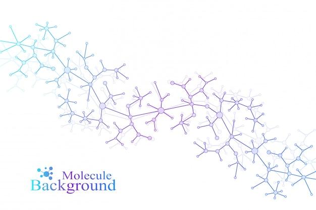 Modèle de chimie scientifique. concept de recherche adn molécule structure. communication de fond en science et technologie.