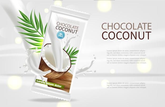 Modèle de chocolat à la noix de coco