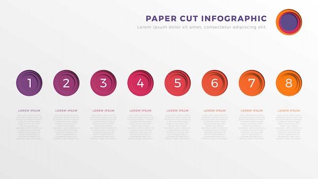 Modèle de chronologie infographie simple huit étapes avec des éléments coupés de papier rond