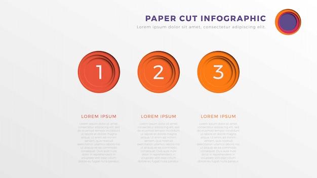 Modèle de chronologie infographie simple trois étapes avec papier rond éléments coupés.