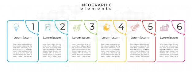 Modèle de chronologie infographique avec l'option numéros 6.