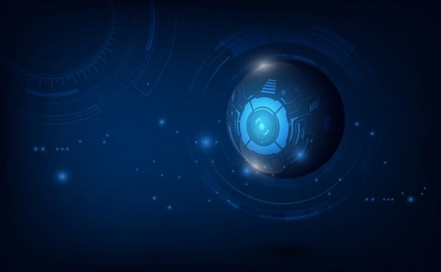 Modèle de circuit numérique tech abstrait sphère innove fond de concept