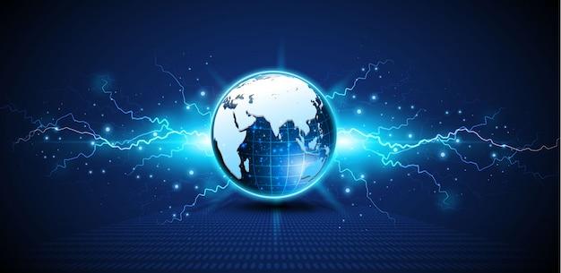 Modèle de circuit numérique tech abstraite sphère innove fond de concept.