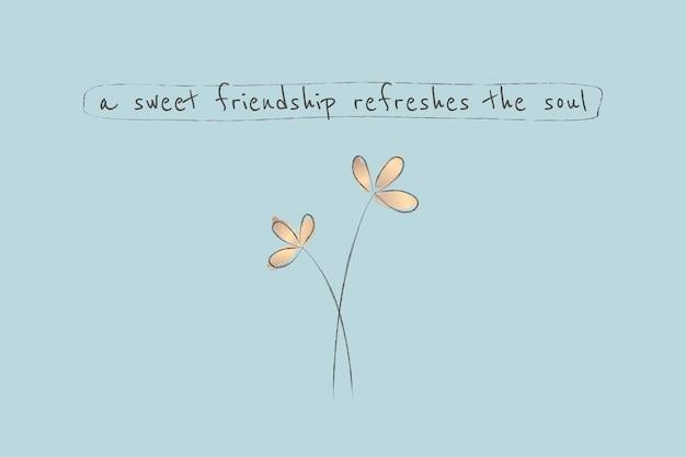 Modèle de citation d'amitié sur fond bleu esthétique