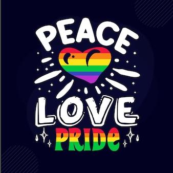 Modèle de citation de conception de vecteur premium de typographie de fierté d'amour de paix