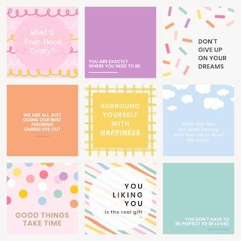 Modèle de citation de médias sociaux avec un ensemble de textes inspirants