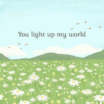 Modèle de citation mignon modifiable avec vous illuminez mon texte du monde