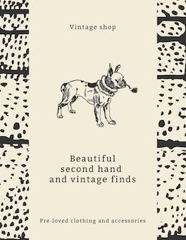 Modèle de citation de mode vintage pour flyer avec illustration de chien, remixé à partir d'œuvres d'art de moriz jung