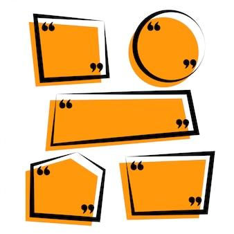 Modèle de citations de style de ligne funky jaune et noir