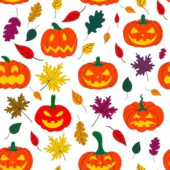 Modèle de citrouille d'halloween avec des feuilles tombées