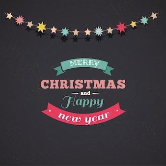 Modèle classique de joyeux noël et bonne année avec des décorations d'arbre de noël.