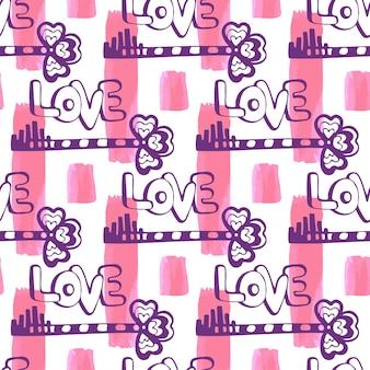 Modèle de clé d'amour sur la texture de la peinture sans soudure. modèle de vecteur dessiné main mignon avec coeur et clé. belle décoration valentine.