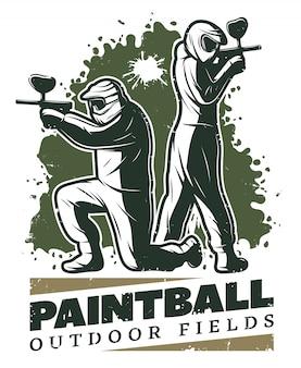 Modèle de club de paintball vintage