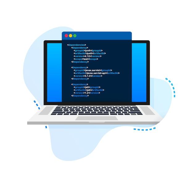 Modèle de codage d'ordinateur portable de vecteur programmation de conception de développeur web