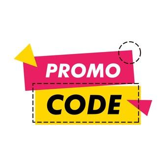 Modèle de code promotionnel. code promotionnel de réduction. plate illustration vectorielle. code de coupon de ruban géométrique isolé sur fond blanc.