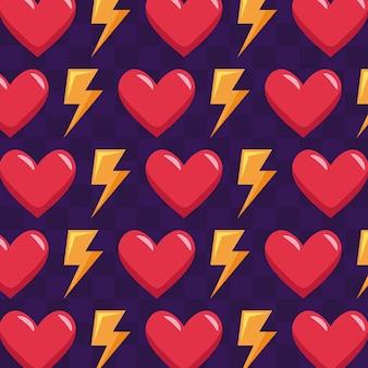 Modèle de coeurs et de rayons de jeu vidéo classique
