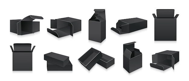 Modèle de coffret 3d noir collection de coffrets cadeaux d'emballage de produit réaliste vierge