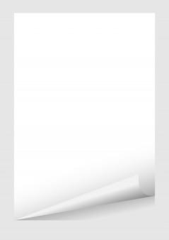 Modèle de coin blanc curl blanc papier a4