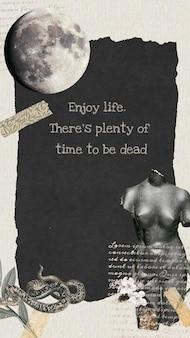 Modèle de collage vecteur esthétique sombre, profitez de la citation de la vie