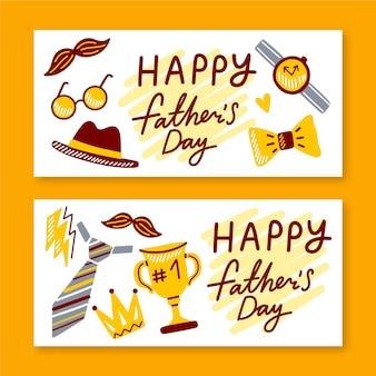 Modèle de collection de bannière de fête des pères
