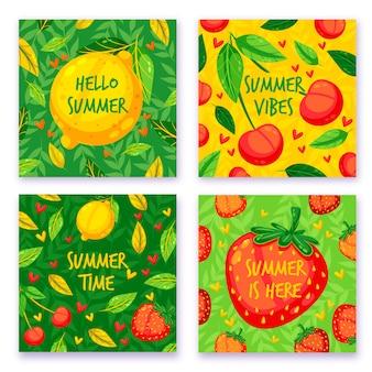 Modèle de collection de cartes d'été plat