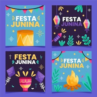 Modèle de collection de cartes festa junina au design plat