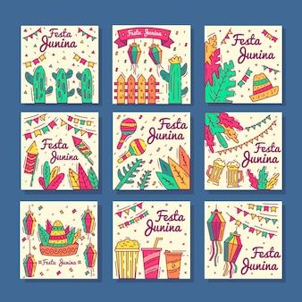 Modèle de collection de cartes festa junina dessiné à la main