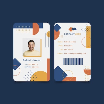 Modèle de collection de cartes d'identité abstraites avec photo