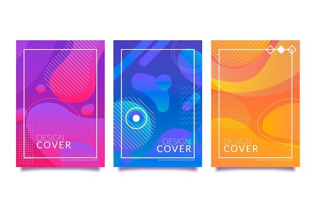 Modèle de collection de couvertures de formes dégradées abstraites