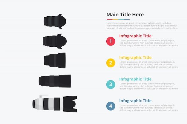 Modèle de collection de divers objectifs de caméra